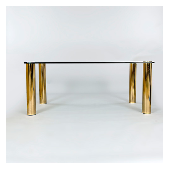 Dining Table With Patinated Brass Legs And Heavy Glass Top