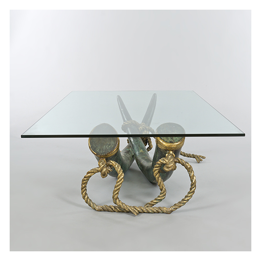 "tables / desks :: coffee tables :: bronze ""elephant tusk"" table"