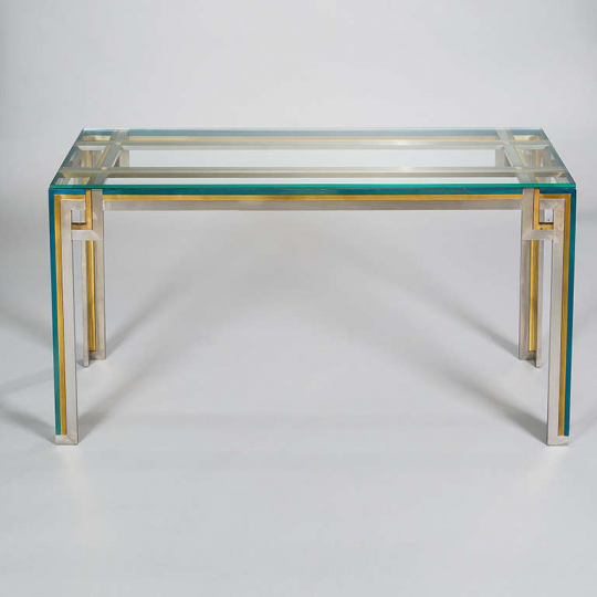 Charmant Chrome And Brass Console Table